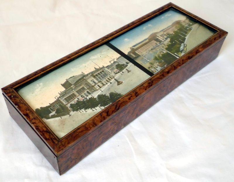 altes holz k stchen schatulle mit 2 ansichtskarten leipzig hinter glas um 1920 kaufen bei. Black Bedroom Furniture Sets. Home Design Ideas