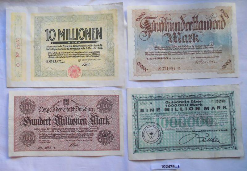 4 banknoten inflation notgeld stadt duisburg 1923 102479 ebay. Black Bedroom Furniture Sets. Home Design Ideas
