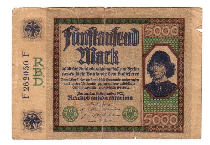 5000 mark inflations banknote 16 rosenberg. Black Bedroom Furniture Sets. Home Design Ideas